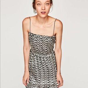 NEW Zara Shimmery Thin Strapped Metallic Dress